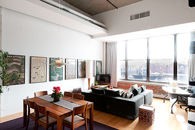 Livingroom Diningroom Combo at porter 156 lofts, East Boston, Unit 336